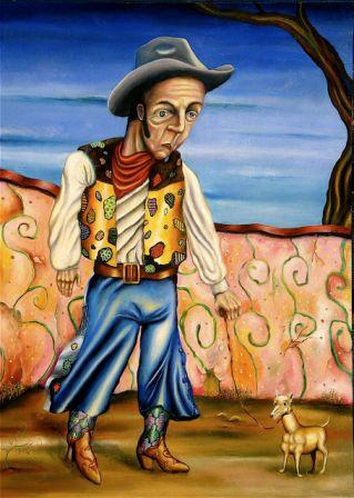 Cowboy with Dog, oil on wood 2009