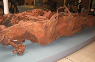 The destroyed car on Display