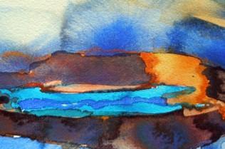 Sally Ward 'Landscape in Blue' watercolour