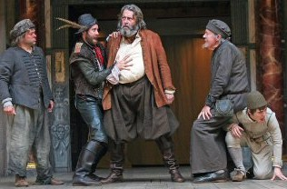 Falstaff, Pistol and the other rebels on stage