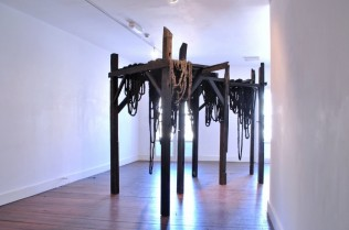 Nika Neelova 'Scaffolds Today, Monuments Tomorrow' Burnt & waxed wood, paper & ink 2011 (The Saatchi Gallery, London)