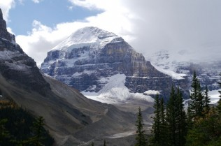 Mount Lefroy seen from the Highline Trail above Lake Louise, Alberta