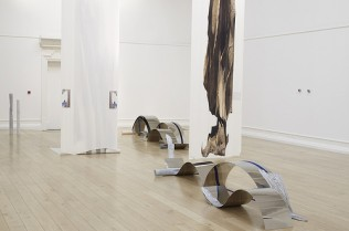 Installation view from Alice Channer: Out of Body at the South London Gallery