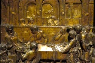 Donatello, Feast of Herod, gilded bronze plaque on the baptismal font, Siena Cathedral, c.1423-27.