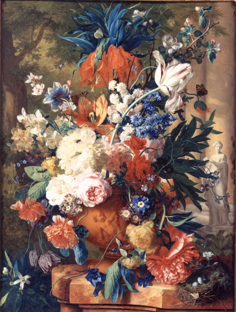 webVan Huysum Still Life with Flowers in a Stone Vase 1731-2  Private Collection