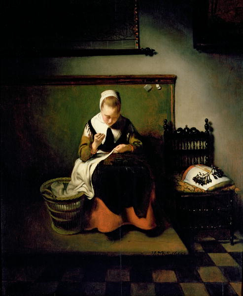 A Young Woman Sewing Nicolaes Maes 1655 54 x44.5 cm Guildhall Gallery, London