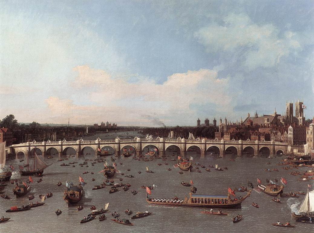 Canaletto – Westminster Bridge, with the Lord Mayor's Procession on the Thames (c.1746-47; Yale Center for British Art, New Haven, Connecticut)