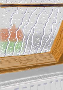 "David Hockney, Rain on the Studio Window, From My Yorkshire Deluxe Edition, 2009, Inkjet printed computer drawing on paper, 22 x 17"", An edition of 75, with 25 H.C."