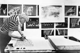 Hockney drawing on a lithographic stone for one of the 'Lithograph of Water' series. Tyler Workshop Ltd. artist's studio, Bedford Village, New York, 1980. National Gallery of Australia, Canberra, gift of Kenneth Tyler 2001.