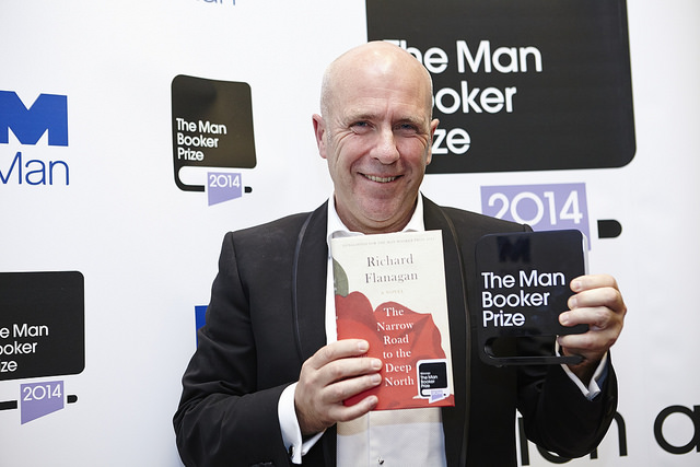 Richard Flanagan with trophy and book - credit Janie Airey