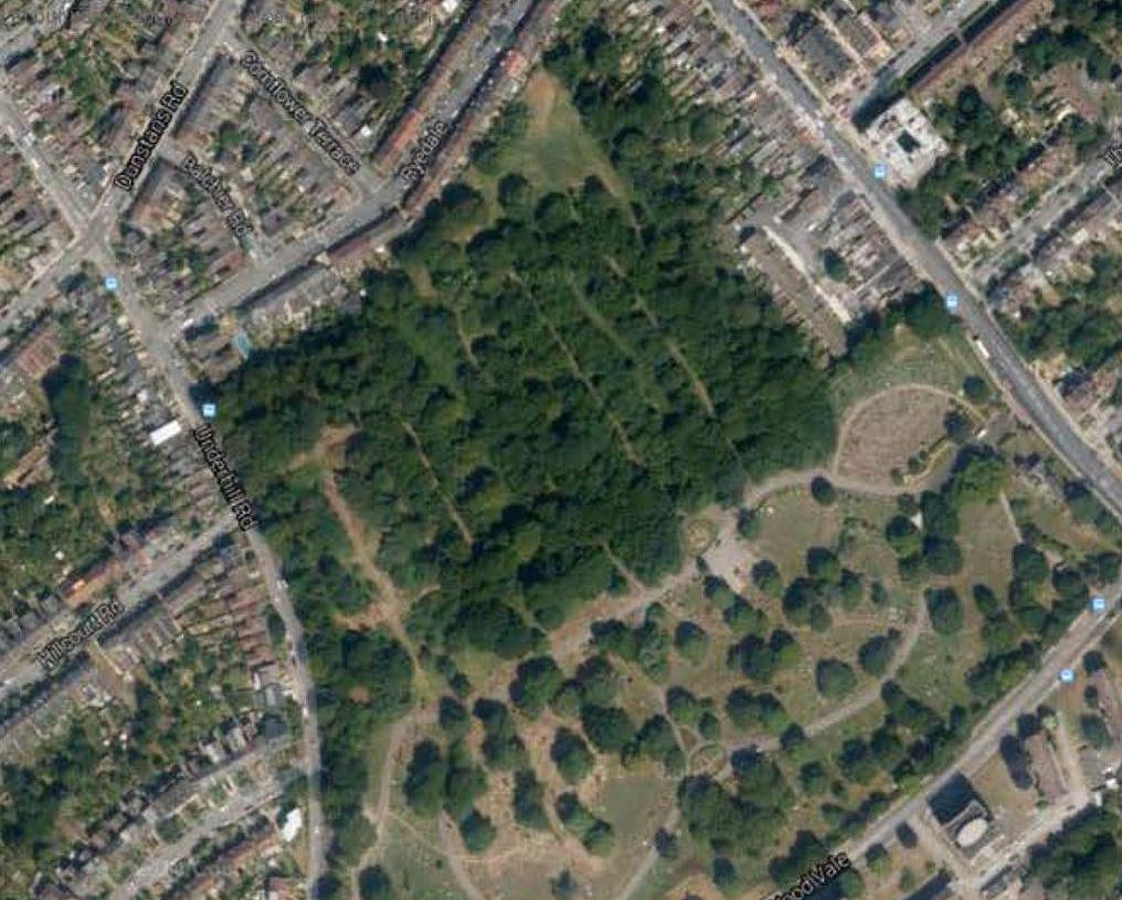 From the air Camberwell Old Cemetery woods are clear to see