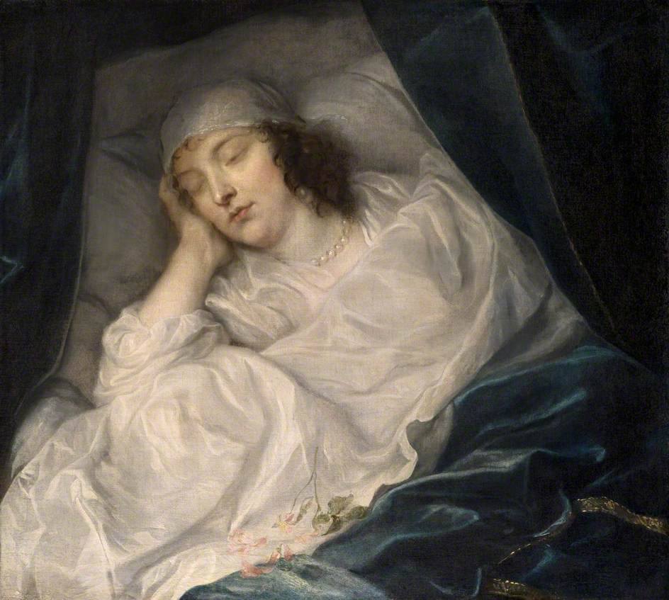 Venetia, Lady Digby, on her Deathbed by Van Dyck.  By kind permission of the trustees of Dulwich Picture Gallery