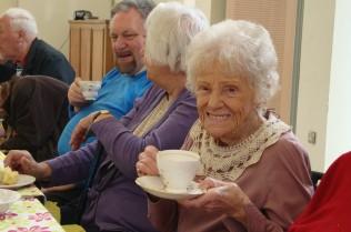 Celia enjoying a cuppa!