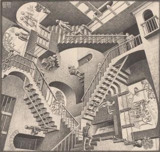 M.C. Escher, Relativity, July 1953, Lithograph, 29.1 x 29.4 cm, Collection Gemeentemuseum Den Haag, The Hague, The Netherlands