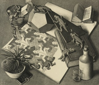 M.C. Escher, Reptiles, March 1943, Lithograph, 33.4 x 38.5 cm, Collection Gemeentemuseum Den Haag, The Hague, The Netherlands.)