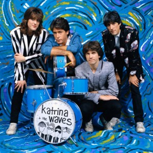 ca. 1986 --- The members of the music group Katrina and the Waves around a drum set. --- Image by © Fabio Nosotti/CORBIS