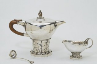 Coffee set consisting of coffee pot, ladle & creamer; silver;  by Georg Jensen;  Danish (Copenhagen);  1909 - 14.