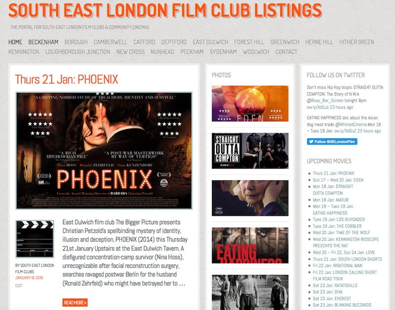 Screenshot of the South East London Film Clubs Listings website