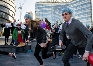 The Annual London Bubble Theatre Pancake Race!