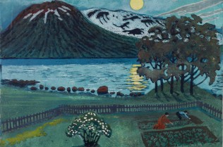 May Moon, undated, colour woodcut, 191 x 253 mm.
