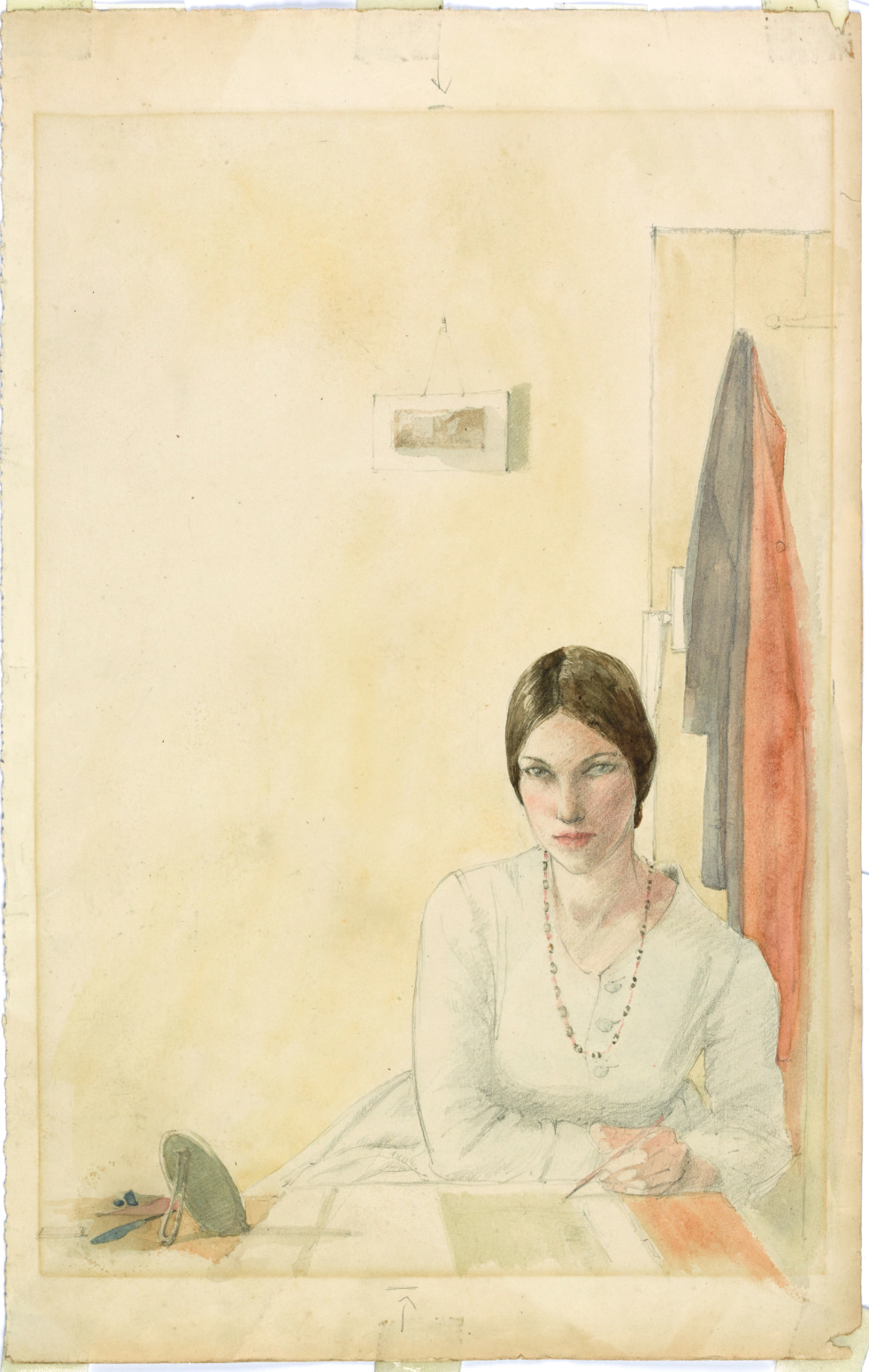 winifred-knights-self-portrait-sketching-at-a-table-c-1916