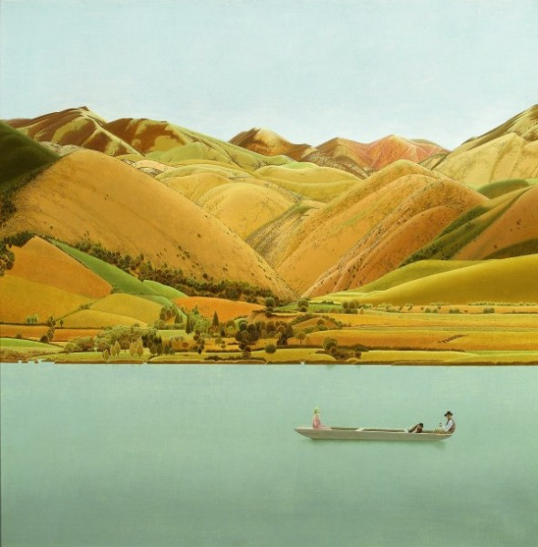 Winifred Knights, Edge of Abruzzi; boat with three people on a lake, 1924-30, Oil on canvas, 68.5 x 68.5 cm, Private Collection. © The Estate of Winifred Knights