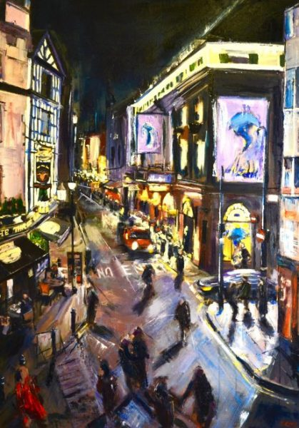 Old Compton Street. Indian ink and oil on canvas. 70 x 100 cm