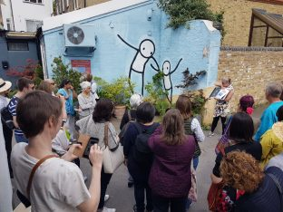 The popular street art walk in Dulwich
